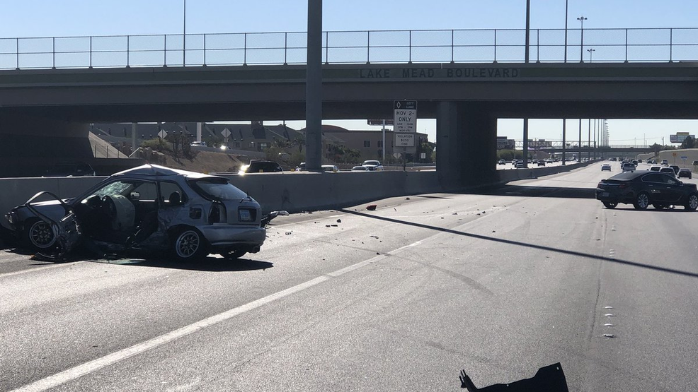 Man dies after two-car crash on southbound US 95 near Lake Mead Blvd