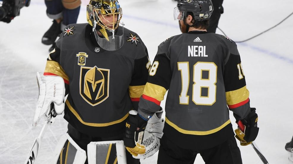 Vegas Golden Knights goaltender Marc-Andre Fleury (29) and Vegas Golden  Knights left wing James Neal (18) celebrate after Game 1 of their NHL  hockey ... 81fba6e8b