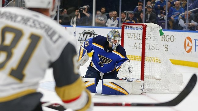 Blues beat Golden Knights 3-1 to close in on playoff spot | KSNV