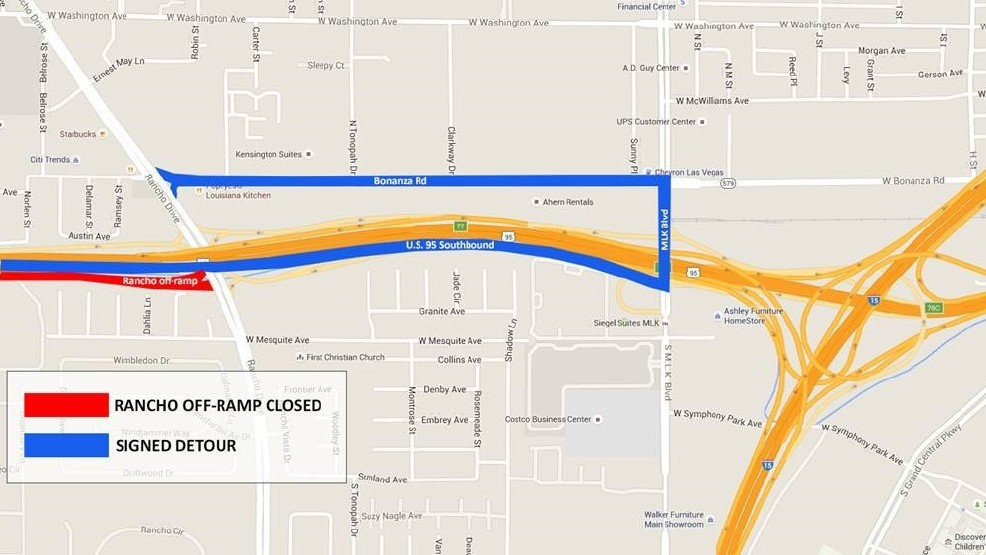 Road Work Watch: U.S. 95 SB Exit To Rancho Closes Tonight; Other Closures